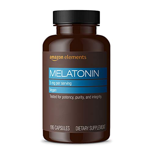 Amazon Elements Melatonin 5mg, Vegan, Helps with occasional sleeplessness, 195 Capsules, 6 month supply (Packaging may vary)