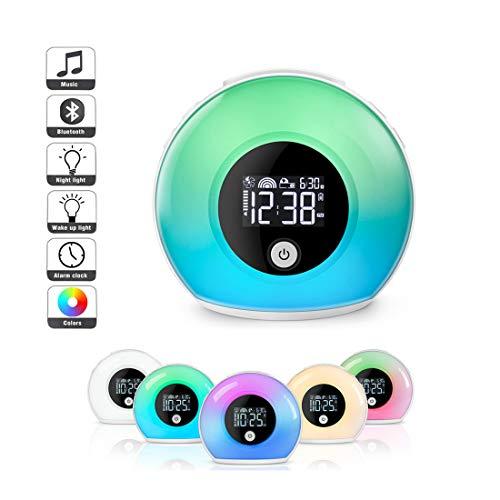 COFFEE CAT Bluetooth-Lautsprecher Wecklicht Wecker, Nachtlicht FüR Kinder, Led Nachtlampe Tischlampe WarmweißEs Licht & 5 Farben 4 Helligkeiten äNdern Sich