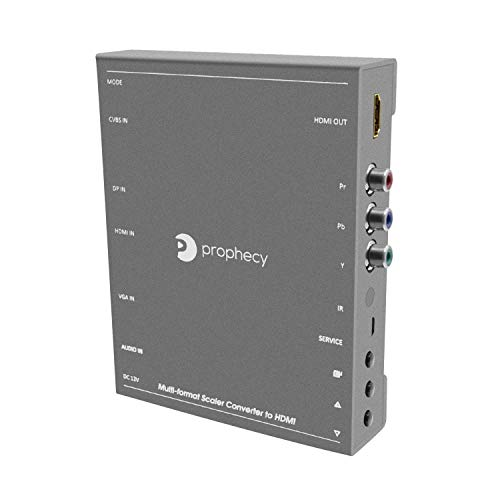 gofanco Prophecy Multi Video Format to HDMI Scaler Converter – Input HDMI/Mini DP/VGA/CVBS/YPbPr, Upscale to HDMI Output up to 4K @30Hz, Frame Rate Conversion, VESA Resolutions (PRO-Scaler2HD)