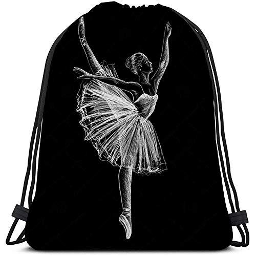 Trekkoord Tas Ballerina Ballerina Tekening Krijt Zwart