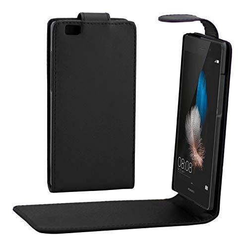 HUANGMENG Funda for móvil Funda de Piel con botón magnético con tirón Vertical For Huawei P8 Lite (Negro) (Color : Black)