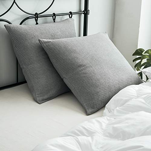 """PHF Muslin Euro Sham Cover 26"""" X 26"""" for Winter 100% Cotton Pack of 2 Throw Pillow Cover Yarn Dyed 3 Layers Grey"""