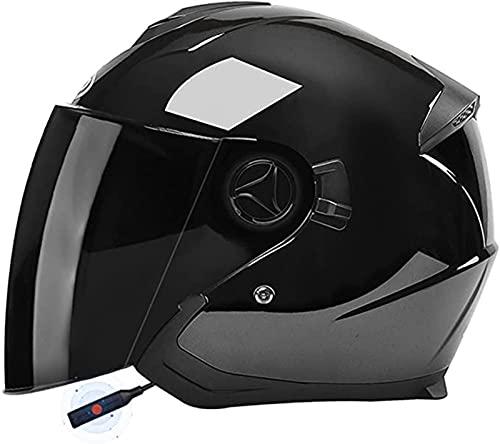 Bluetooth Casco de Moto Retro Adultos Cascos de Moto Jet Casco de Seguridad Personalidad Medio Casco de Moto Vintage,para Street Bike Cruiser Chopper Motocicleta Casco E,54-59M