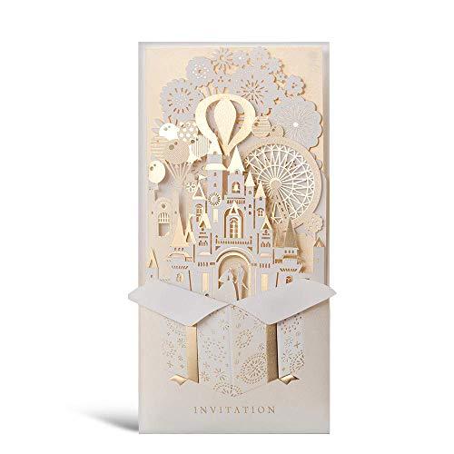 Wishmade 50 X Kits de Tarjetas de invitaciones de boda, doradas y...