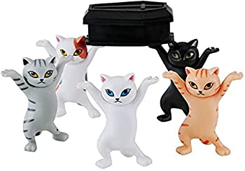 The Cat Coffin Dance,Dancing Pallbearer Cats and Pen Holders,Carrying Coffin Cat Support Frame Stationery,Mobile Phone Holder,Funny Cat PVC Model,Handmade Model Ornaments  Five Cats+ 1 Coffin