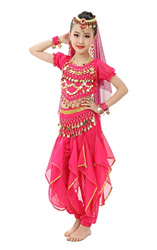 Gilrs Halloween Costume Set - Kids Belly Dance Halter Top Pants with Jewelry Accessory for Dress Up Party (Hot Pink, L(Height: 52'-57'))