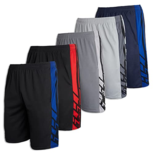 Men's Mesh Active Wear Athletic Basketball Essentials Performance Gym Soccer Running Summer Fitness Quick Dry Wicking Workout Clothes Sport Shorts - Set 2-5 Pack, XL