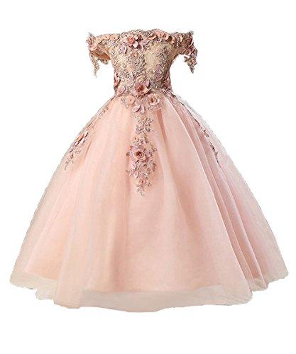 Misshow Blumenmädchenkleid Off Schulter Festlich Hochzeits Tüll Party Prinzessin Kleid Festzug