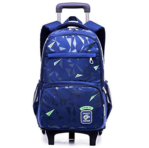 Mochila de la Carretilla del Estudiante, Mochila rodante Desmontable de Gran Capacidad del Rodillo, totalizador del Viaje de la Escalera Que Sube (Color : Blue)