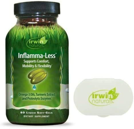 Irwin Naturals Inflammatory Response Inflamma-Less Supports Comfort Mobility Flexibility - 80 Liquid Softgels Bundle with a Pill Case