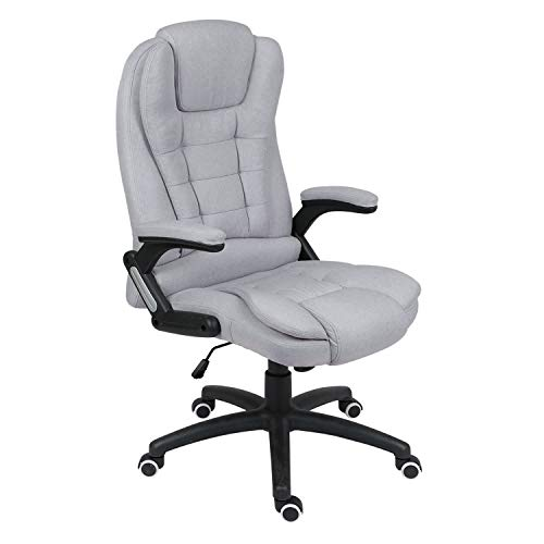 Desk Chair for Home,Executive Office Chair with 6 Point Massage Comfy Reclining Gaming Chair High Back PC Chair Extra Padded Swivel Computer Chair,Home/Office Furniture (Grey Fabric(No massage))