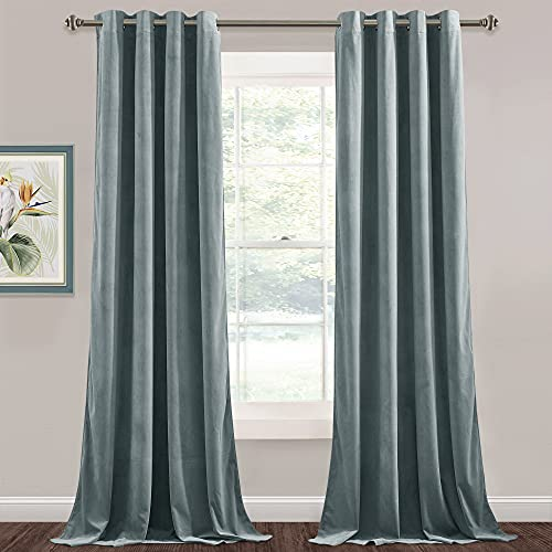 StangH Velvet Curtains 120 inches Long - High Ceiling Tall Curtains Home Office Privacy Curtain Panels Room Darkening & Home Decoration Backdrop for Living Room, Stone Blue, W52 x L120, 2 Panels