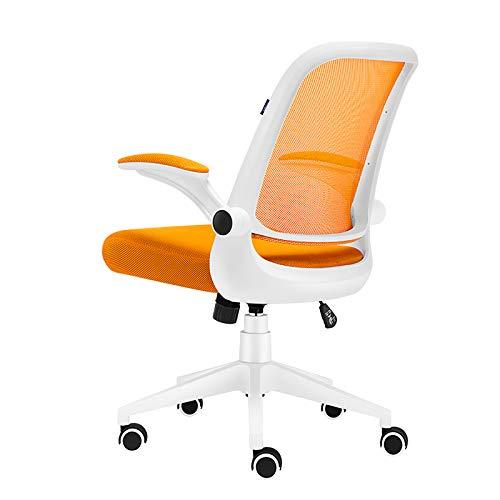 Silla de oficina ergonómica, silla de oficina para computadora con apoyabrazos abatible y soporte lumbar, altura ajustable,Naranja