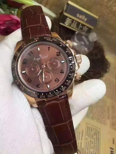 GFDSA Automatische horloges Luxe merk Heren rose gouden chocolade wijzerplaat Keramische ring Leer Gent's automatische mechanische saffier horloges