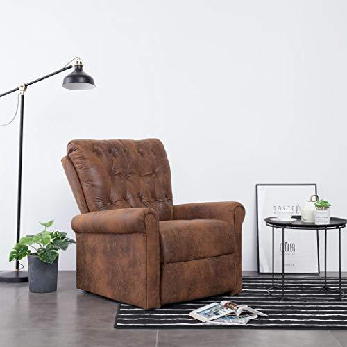 Tidyard Liegesessel Braun Wildleder-Optik Massagesessel mit Massage Heizfunktion Fernsehsessel TV Sessel Relaxsessel Relaxliege Ruhesessel