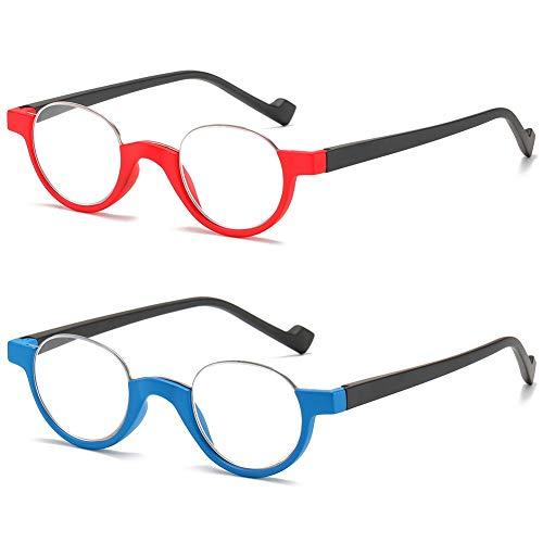 VEVESMUNDO Halbrand Lesebrille Herren Damen Halbmond Federscharnier Klassische Retro Runde Schmal Klar Arbeitsplatzbrille Lesehilfe Sehhilfe Halbbrillen mit sehstärke (Lesebrillen(Blau+Rot), 2.0)