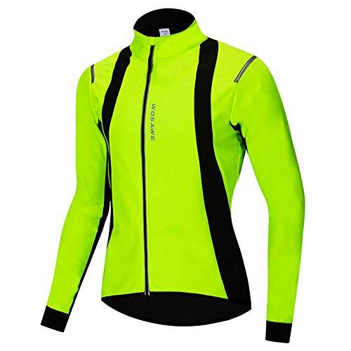 FQXG Chaquetas de Ciclismo, Ropa de montaña para Hombres y Mujeres para Hombres, Chaquetas a Prueba de Viento y cálidas de Manga Larga, Ropa de Andar en Bicicleta con Tiras Reflectantes,Verde,S