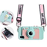 WBSZDS Cute Camera Design Wallet Case for iPhone 6 / iPhone 6s, Purse Flip Card Pouch Stand Holder Cover Case with Long Shoulder Strap (Green iphone7 Plus /8 Plus)