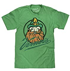 "A DELICIOUSLY DIFFERENT RETRO T-SHIRT: Enjoy the nostalgia of the authentic licensed Vernors Ginger Ale gnome mascot ""Woody"" - printed on the softest green Kelly Heather tee we could find. FUN GIFT FOR THE GINGER ALE FAN IN YOUR LIFE: Screen printed ..."