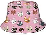 BONRI Patrón de Gatos Mixtos NRENRE Sombrero de Cubo de Sol de Viaje al Aire Libre Unisex Gorra de Pescador de Verano