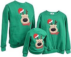Sudadera Navidad Jersey Navideño Sudaderas Navideñas Familiares Niño Niña Sueter Hombre Mujer Reno Sweaters Estampadas Pullover Cuello Redondo Largas Chica Chico Invierno Anchas Basicas Verde XL