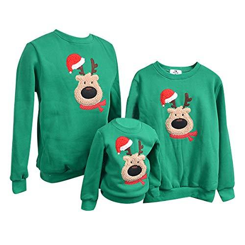 Sudadera Navidad Jersey Navideño Sudaderas Navideñas Familiares Niño Niña Sueter Hombre Mujer Reno Sweaters Estampadas Pullover Cuello Redondo Largas Chica Chico Invierno Anchas Basicas Verde