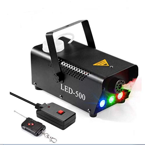 Fog Machine, LED Lights Stage Smoke Machine 500W Portable Smoke Fog Ejector with Remote Control for Parties Weddings Christmas