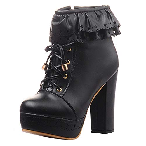 ODRD- Schuhe Clearance Sale Damenstiefel Lolita Sweet Round Toe Schnürstiefeletten mit hohem Absatz und Schnee Schuhe Sneaker Stiefel Stiefeletten Combat Hallenschuhe Worker Boots Laufschuhe Sports