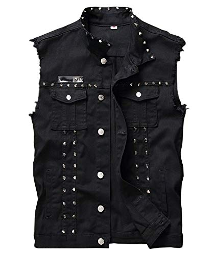 LifeHe Men's Sleeveless Lapel Denim Jean Vests Jacket With Rivets (Black, Large)