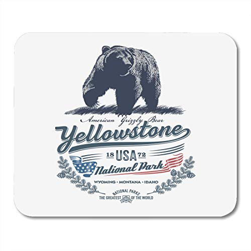 Mauspads Idaho Grizzlybär Nationalpark Yellowstone Blue Farbe Montana Wyoming Mauspad Für Notebooks, Desktop-Computer Zubehör Mini-Büromaterial Mausmatten