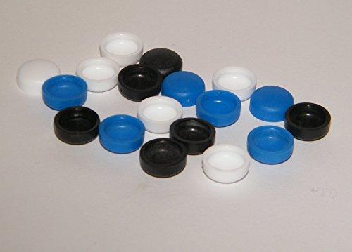 18 x Kennzeichen-Schrauben-Abdeckung.12mm x 9 mm Inndendurchmesser, für Schrauben M5 und M6 /4,8mm+5,6mm farblich sortiert