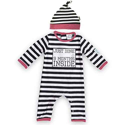 Just Done 9 Months Inside® Baby Grow and Hat for Baby Girl by Lazy Baby®