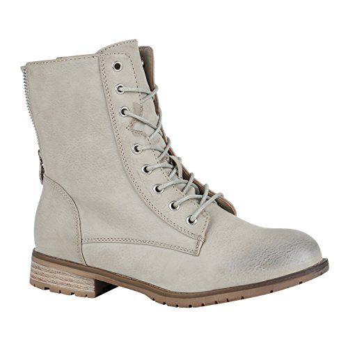 Bequeme Damen Schnürstiefeletten Gefütterte Stiefeletten Stiefel Schuhe 150106 Hellgrau Brooklyn Grey 37 Flandell