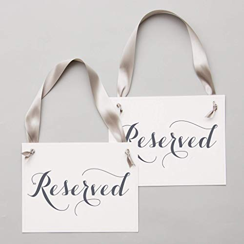 Set of 2 Reserved Signs Wedding Chair Seat Banners Slate & Gray on White Paper