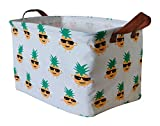 ASKETAM Rectangular Storage Bin,Canvas Fabric Storage Basket,Foldable Toy Storage Organizer,Waterproof Nursery Hamper for Kids Toy,Clothes,Office, Bedroom,Gift Basket (Many Pineapples)