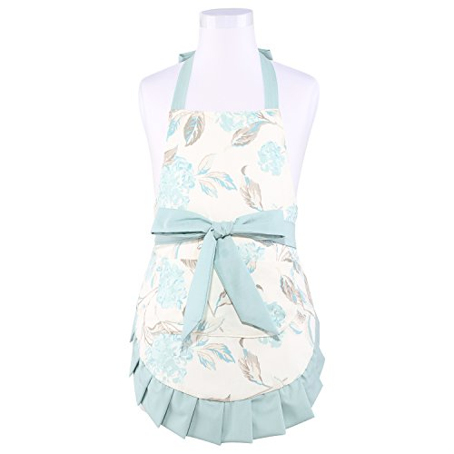 NEOVIVA Kitchen Apron for Kids with Pockets in Daily Play Kitchen, Double-layered Toddler Girls Apron for Cooking, Baking and Gardening, Style Kathy, Floral Hydrangea Clear Aqua