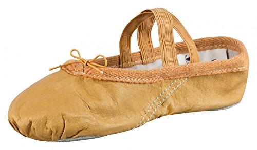 tanzmuster Zapatillas de Ballet - Cuero, Suela Partida - Beige/Blanco Piedra - Caramelo - Talla: 32