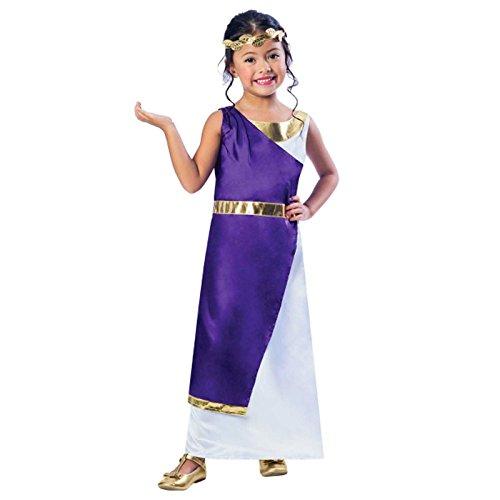 Fancy Dress VIP Mädchen Römisch Kostüm grichischer Griechische Göttin Buch Woche Tag Kinder Halbschuhe Kostüm lila Gold Toga Kleid Kopf Kranz Blatt - Gold/lila/weiß, 116