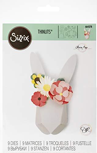 Sizzix Set de Troqueles Thinlits 9 pzas 664378 Conejo Origami by Olivia Rosa, multicolor, Talla única