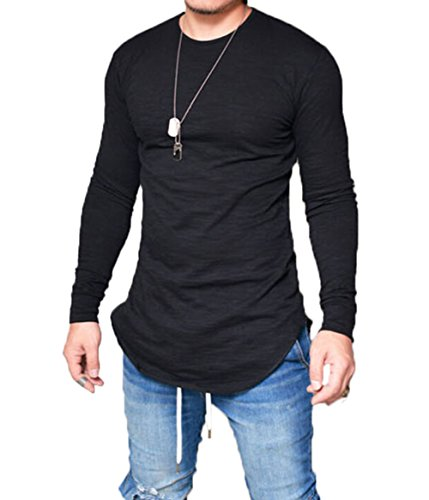 Men's Long Sleeve Slim Fit Thin T-shirt Round Neck Breathable Autumn Blouse (US-M, Black)