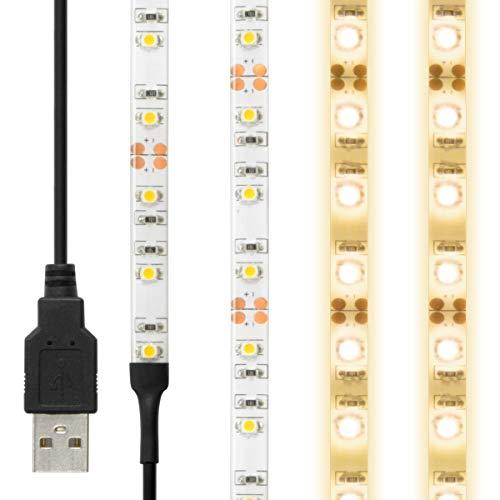 LEDテープライト 貼レルヤ USB (電球色) 50cm 30灯 両面テープで好きな場所に貼り付け可能 ハサミでカットして長さを変えられます ショーケースなど店舗用照明に 3000K JTT Online LEDTLHAUIN05M