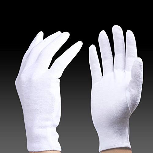 ZfgG 12 Pack witte katoenen handschoenen - werkhandschoenen cosmetische vochtinbrengende handschoenen voor droge handen en eczeem, sieraden inspectie en meer