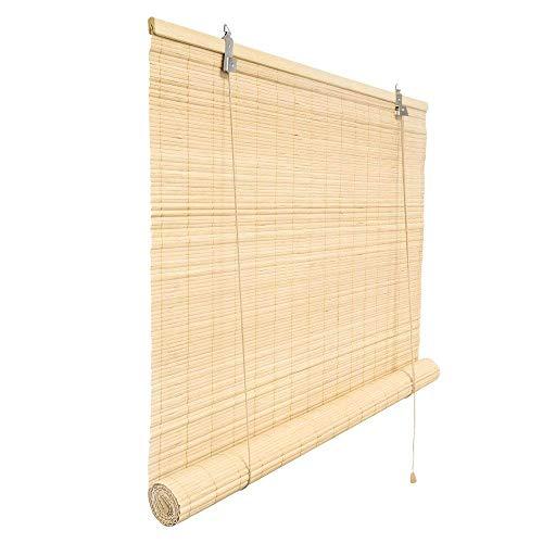 Victoria M. Klemmfix Bambusrollo 100 x 160 cm in Natur, Sichtschutz Rollo ohne Bohren für Fenster und Türen