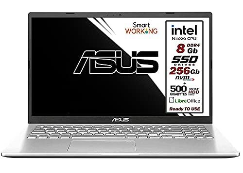 Asus Vivobook notebook, dual SSD M.2 Nvme pci da 256Gb + HDD 500 Gb, Intel N4020 fino a 2.8Ghz, 8Gb ddr4, Display da 15,6 hd antiriflesso, wi-fi, 4 Usb, Bt, hdmi, webcam, Win 10 pro, Pronto all uso