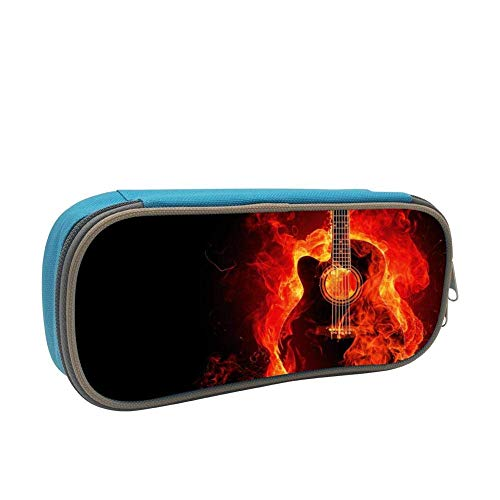Estuche de lápices suave de gran capacidad para guitarra de fuego para niños con cremallera para niños y niñas azul BAG-230