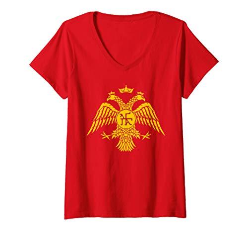 Damen Byzantine Empire Palaiologos Dynasty T-Shirt mit V-Ausschnitt
