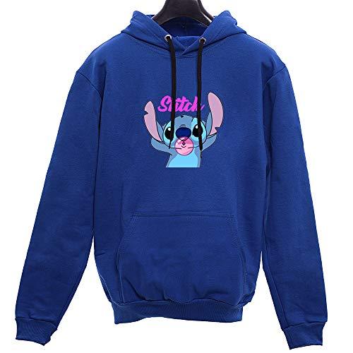 Blusa De Frio Lillo E Stitch Chiclete Animado Feminino Tumblr (P, AZUL)