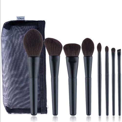 HBBOOI 8pcs Maquillage de Visage Voyage Brosses Fondation Professionnelle Maquillage des Yeux Pinceau Set Petit Doux mélange Les pinceaux de Maquillage Set Kit avec Sac cosmétique