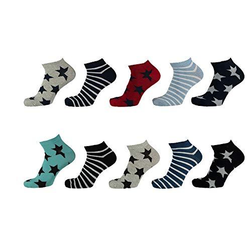 Lieblingsstrumpf24 10er Pack Socken Kinder Jungen Mädchen Baumwolle (Sneaker Socken Ringel Stern Mix 31-34)