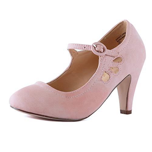 Guilty Heart Mary Jane Damen-Pumps mit klobigem Absatz – bequemer mittelhohe Kitten-Heels mit Knöchelriemen, Pink (Rosepinkv1 Pu), 36.5 EU